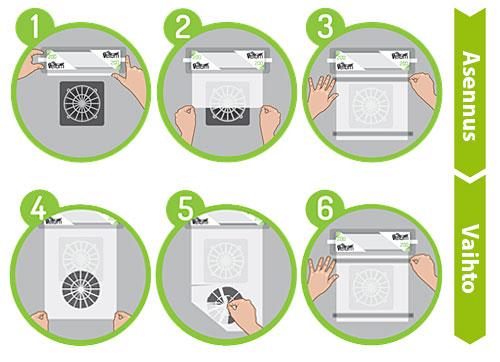 Velum-suojasuodattimen vaihtotarve on helppo todeta silmämääräisesti: suodatin on vaihdettava, kun se on kokonaan lian peitossa. Suodattimen vaihto kestää vain 5 sekuntia eikä edellytä erikoistaitoja. Tämä auttaa välttämään käyttökatkokset, alentaa huoltokustannuksia ja estää tuottavuuden laskun, joka liittyy sisäisten suodattimien vaihtoon.